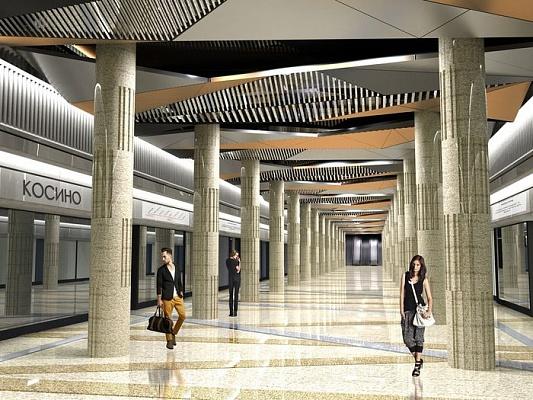 Подвесной потолок сосветильниками изстекла истали украсит станцию метро «Косино»